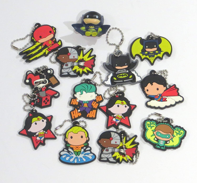 Edison Novelty DC Comics Chibi Style Soft Touch Keychain Charms One Dozen and Minifigure