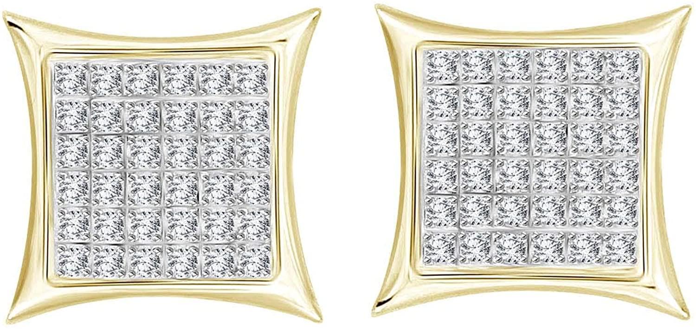 Eternal Bliss 1/4 cttw Round Diamond Square Cluster Unisex Yuva Kite Stud Earrings in 10kt Gold