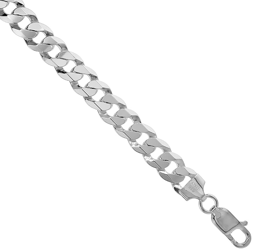 Sterling Silver Flat Curb Link Chain Necklace 8.7 mm Nickel Free Italy, Sizes 7-30 inch