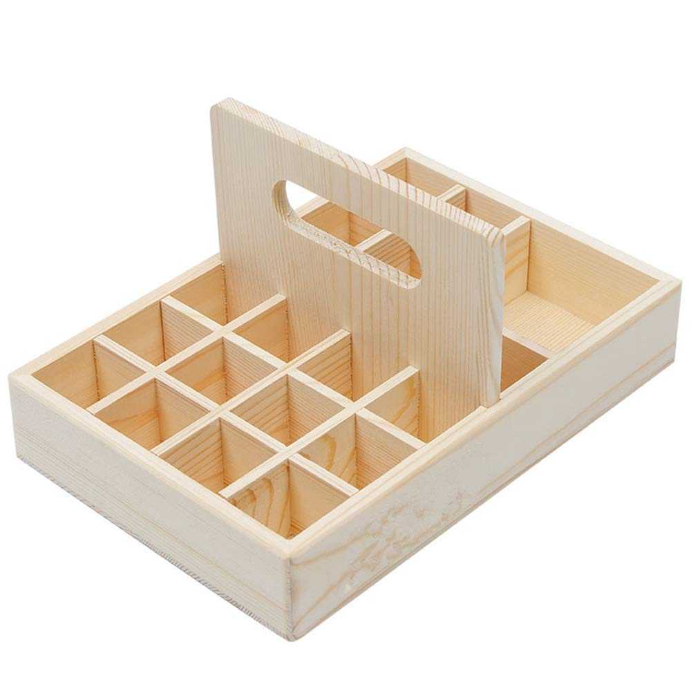 PhantomSky 21 Slots Wooden Aromatherapy Essential Oil Carrying Case, Natural Wood Essential Oil Organizer Storage Box Case Display Holds for Travel and Presentations Gift Box
