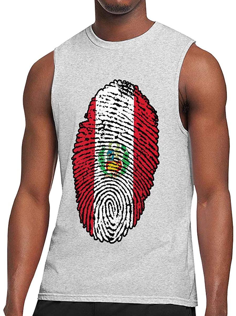 Youperi Men's Peru Flag Fingerprint Tank Top Sleeveless Bodybuilding T-Shirts