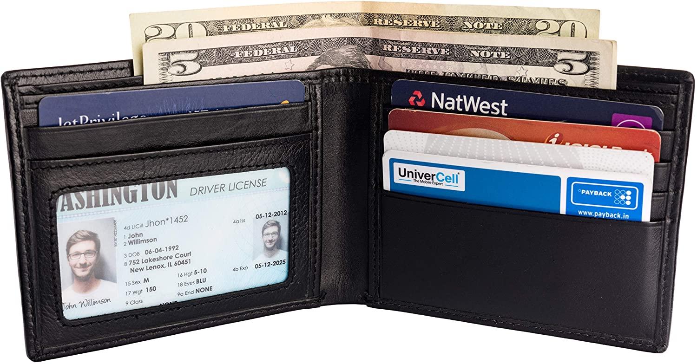 Men's Leather RFID Blocking Ultra-Thin Bifold Wallet
