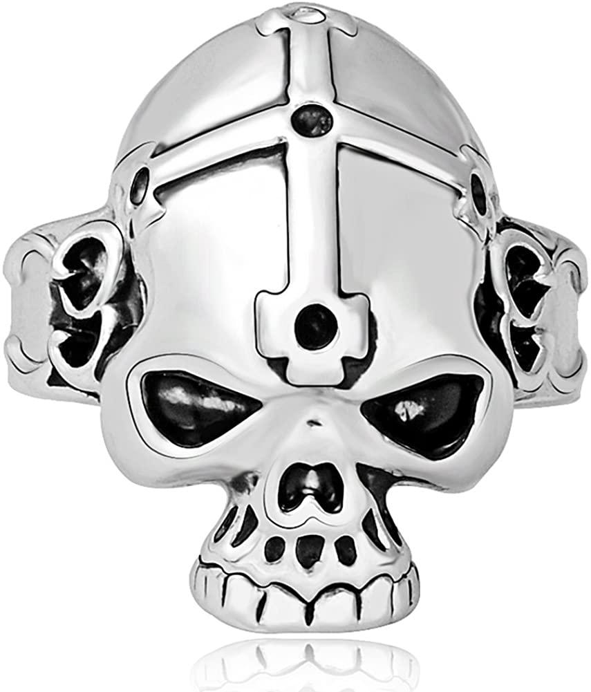SUM Mens Boys Cool Gothic Vingate Sivler Black Skull Cross Rings