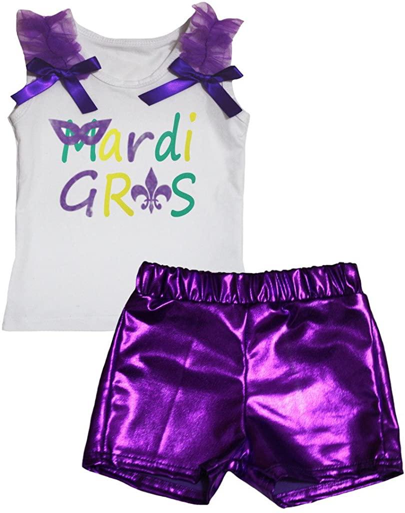 Petitebella Mardi Gras White Shirt Purple Bling Short Set 1-8y