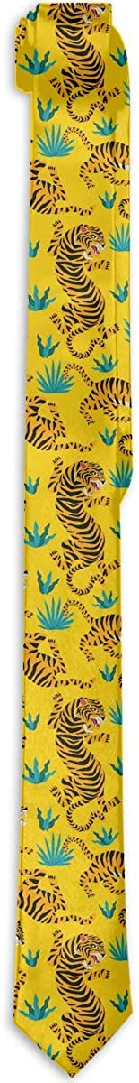 Men's Tie Cute Tigers Fierce Animal With Tropical Leaves On Yellow Fashion Silk Skinny Ties Personalized Gift Neckties