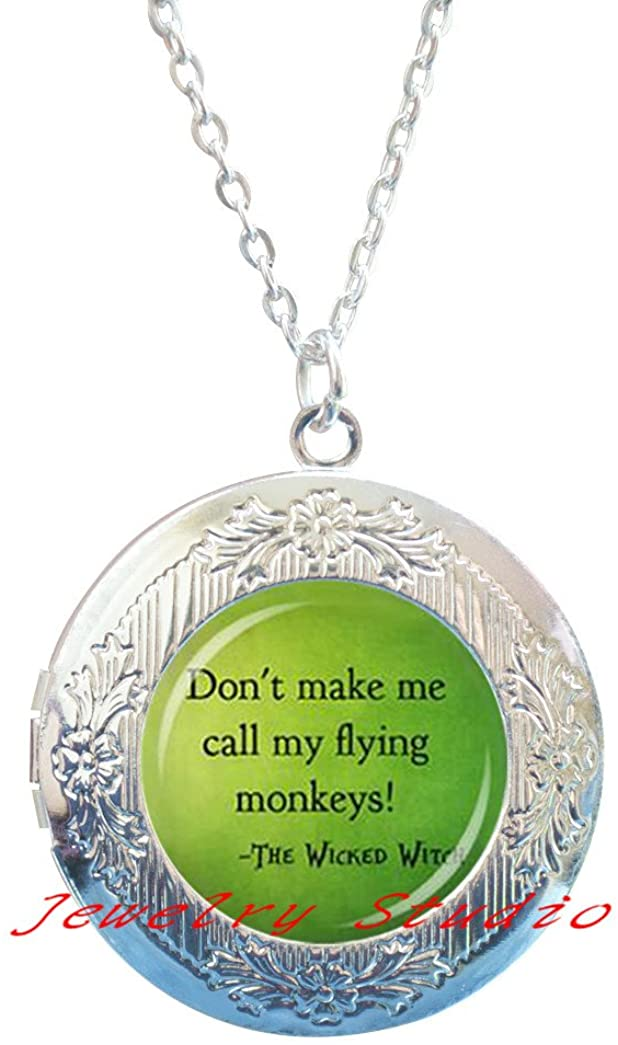 'Don't make me call my flying monkeys' Witch Glass Locket Pendant Locket Necklace jewelry accessories,photo Locket Pendant art Locket Pendant photo jewelry art jewelry glass jewelry-HZ00160