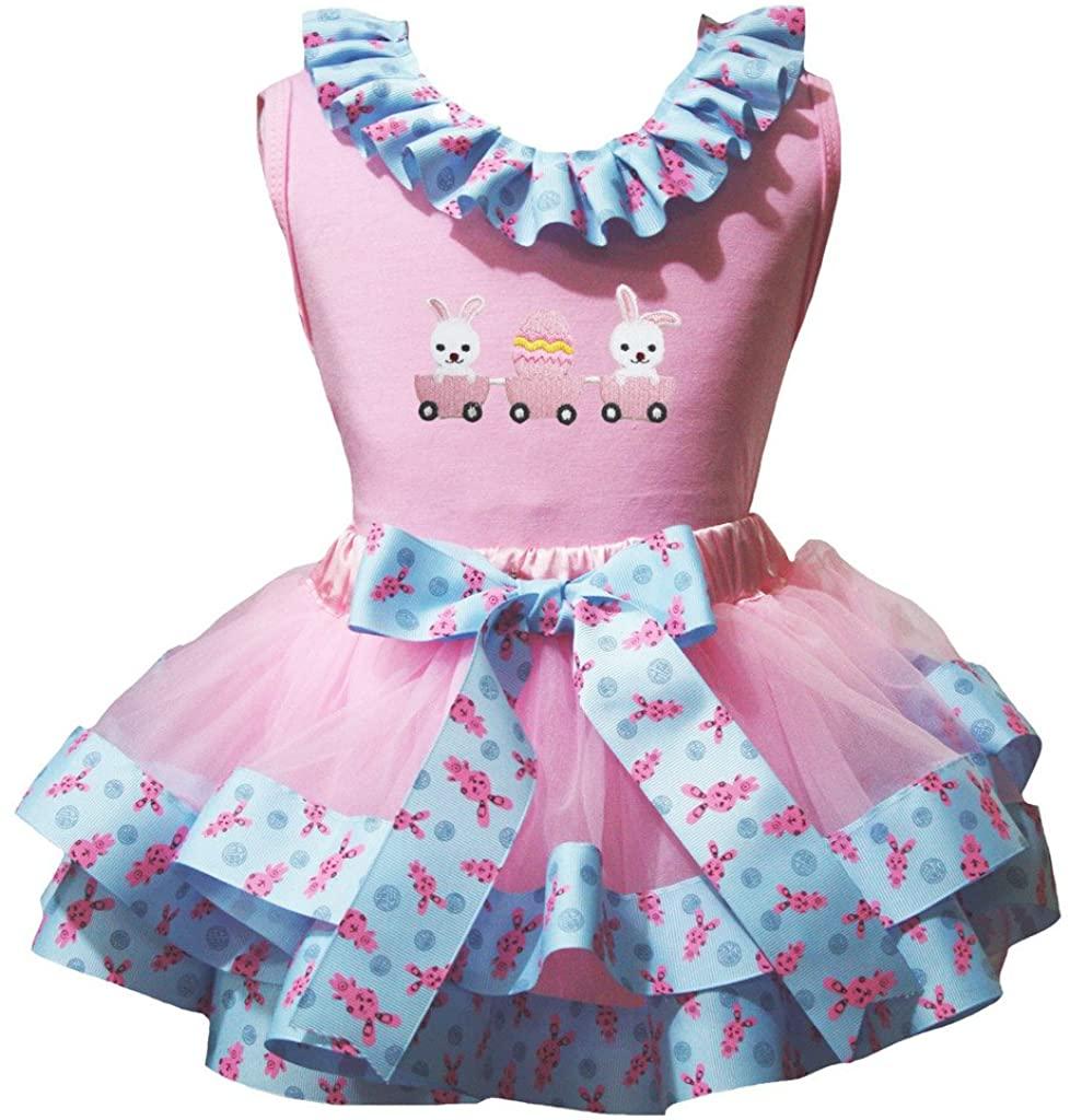 Petitebella Bunny Egg Car Shirt Bunnies Ribbon Pink Petal Skirt Nb-8y