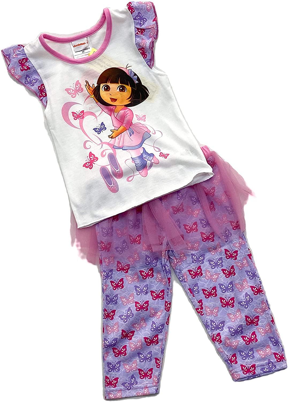 Nickelodeon Girls' Dora The Explorer Ballet Tee & Skirted Pants