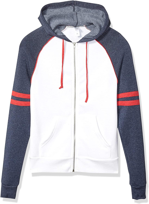Alternative Mens Rocky Throwback Fleece Zip Hoodie, Eco White, Eco True Navy, eco True Red