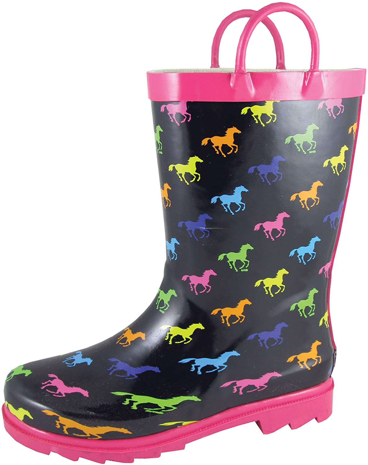 Smoky Childrens Kids Black Rubber Boot with Multi Color Ponies