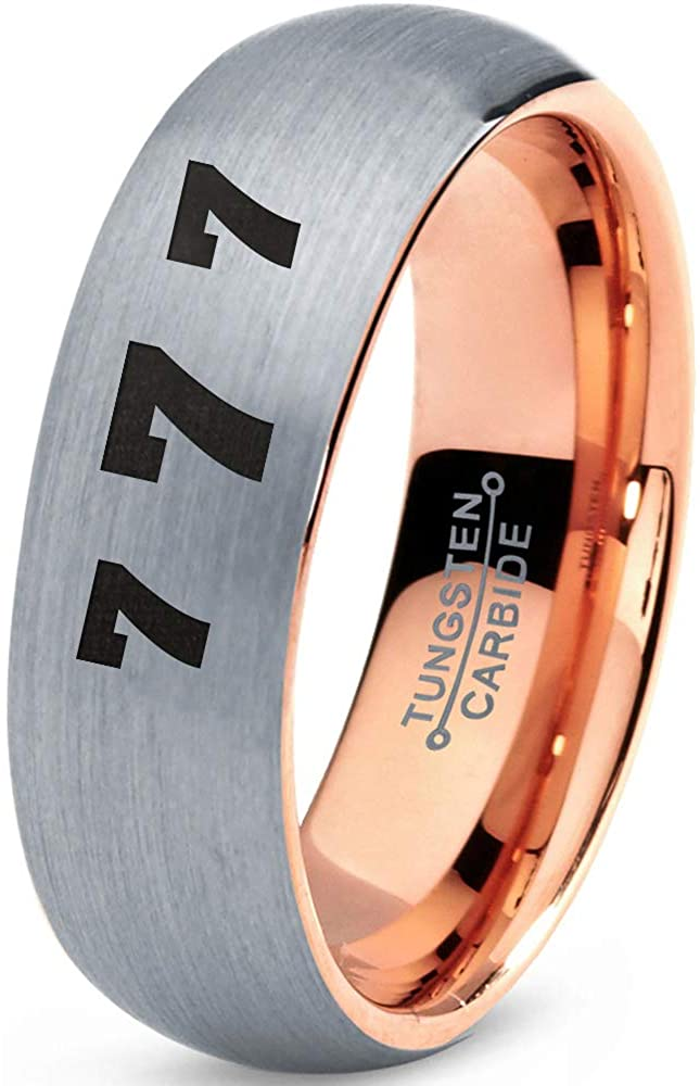 Lucky Number Seven Ring - Tungsten Band 8mm - Men - Women - 18k Rose Gold Step Bevel Edge - Yellow - Grey - Blue - Black - Brushed - Polished - Wedding - Gift Dome Flat