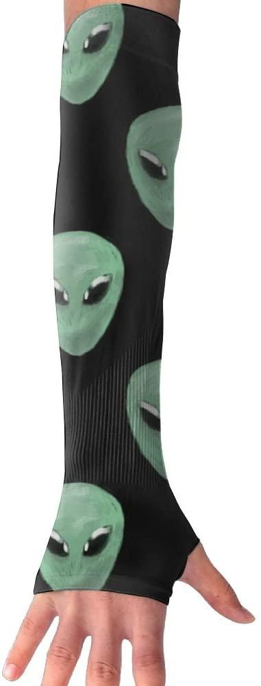 Alien Heads Women Outdoor Sun Block Soft Long Arm Sleeve Fingerless Gloves