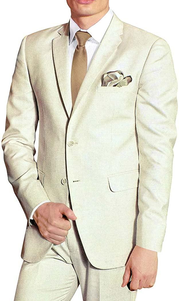 INMONARCH Mens Cream Polyester 5 Pc Tuxedo Suit Notch Collar TX1107