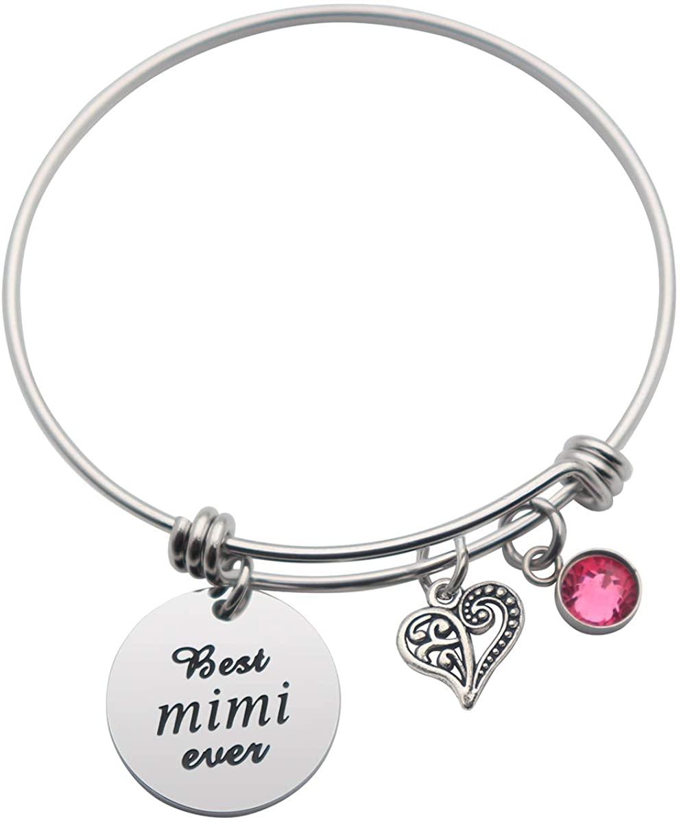 CHENVA Personalized Mimi Nana Bracelet Best Mimi Nana Ever Gift for Mimi Nana Grandmother Jewelry