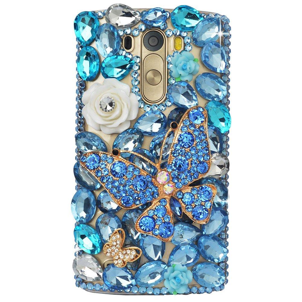 STENES LG Harmony Case - STYLISH - 100+ Bling - 3D Handmade Butterfly Rose Flowers Design Protective Case For LG Harmony/LG K20 V (VS501) / LG K20 Plus/LG Grace LT - Blue