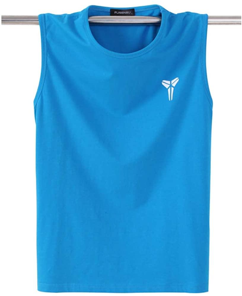 HOSD Summer Men's Cotton Vest Loose Large Size Sleeveless t-Shirt Sports Fitness Blue
