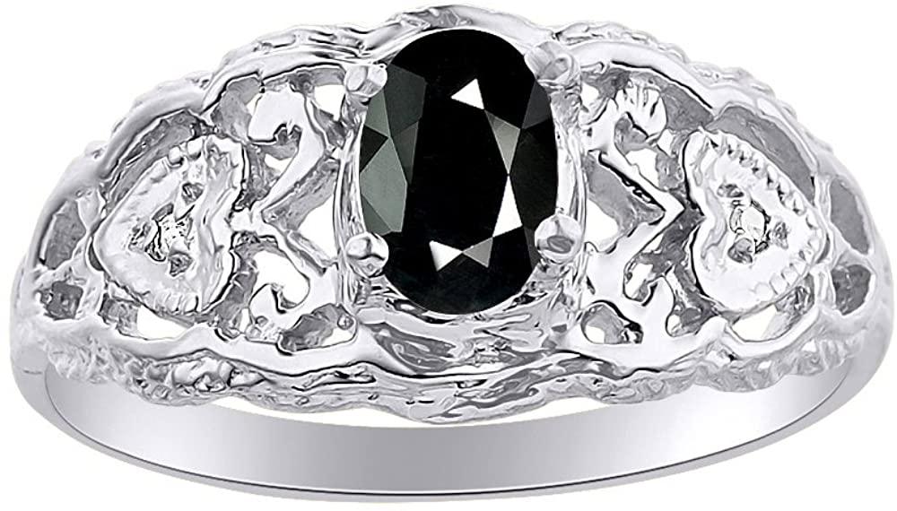 Diamond & Onyx Ring Set In 14K White Gold Designer Hearts