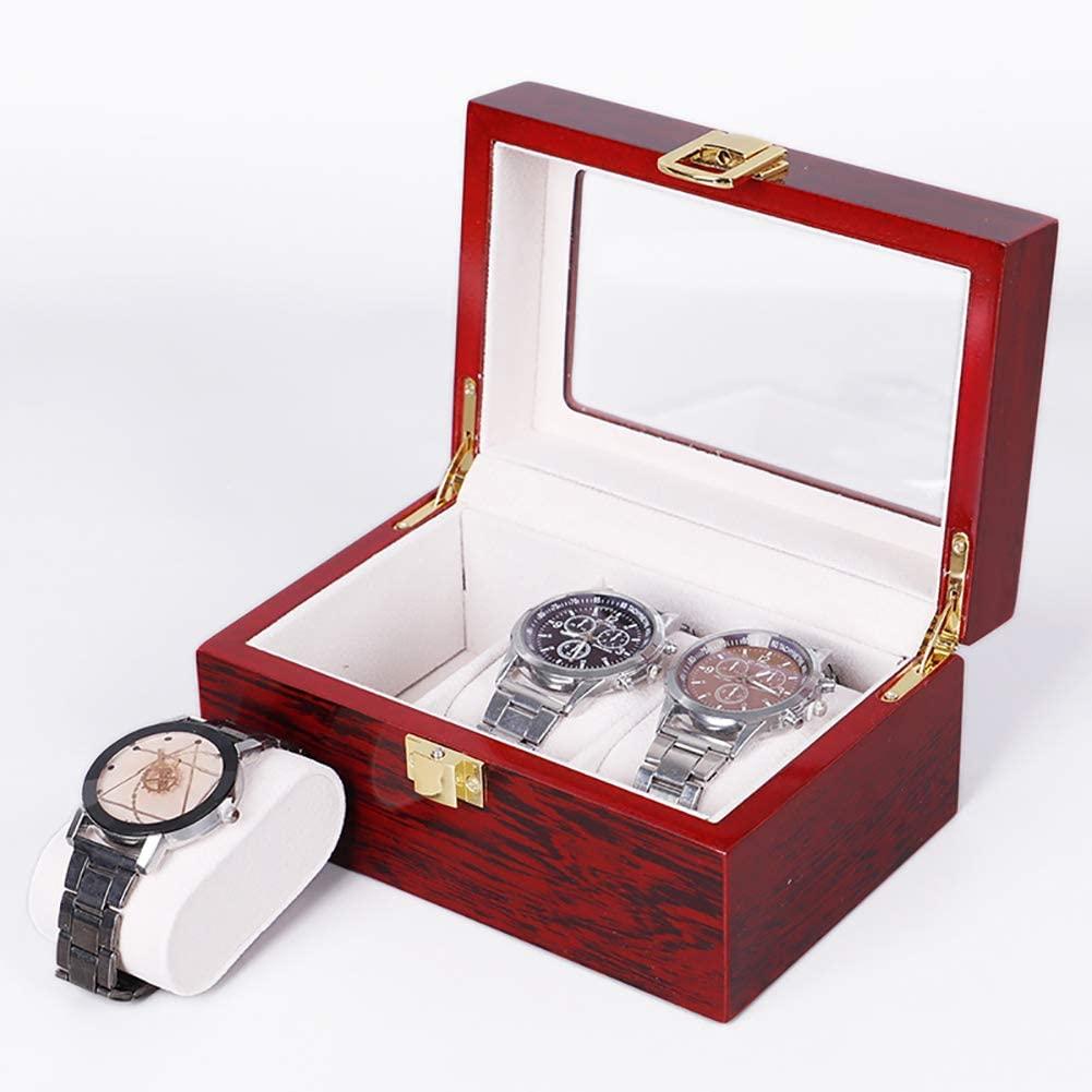 3 Slot Wooden Watch Box,Luxury Watch Display Case with Glass Top and Elegant Lock,Jewelry Watch Collection Storage Box Organizer Men Women B 6x5x3inch