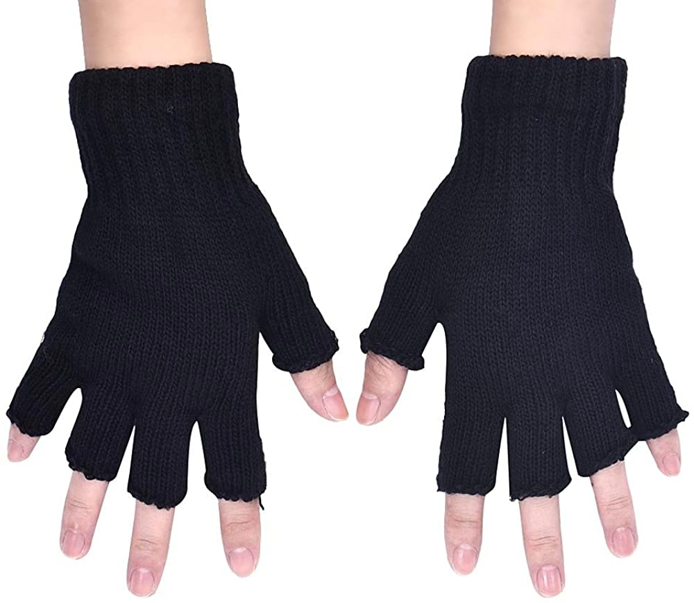 AutumnFall® Newest Men's Knitted Stretch Elastic Warm Half Finger Fingerless Gloves