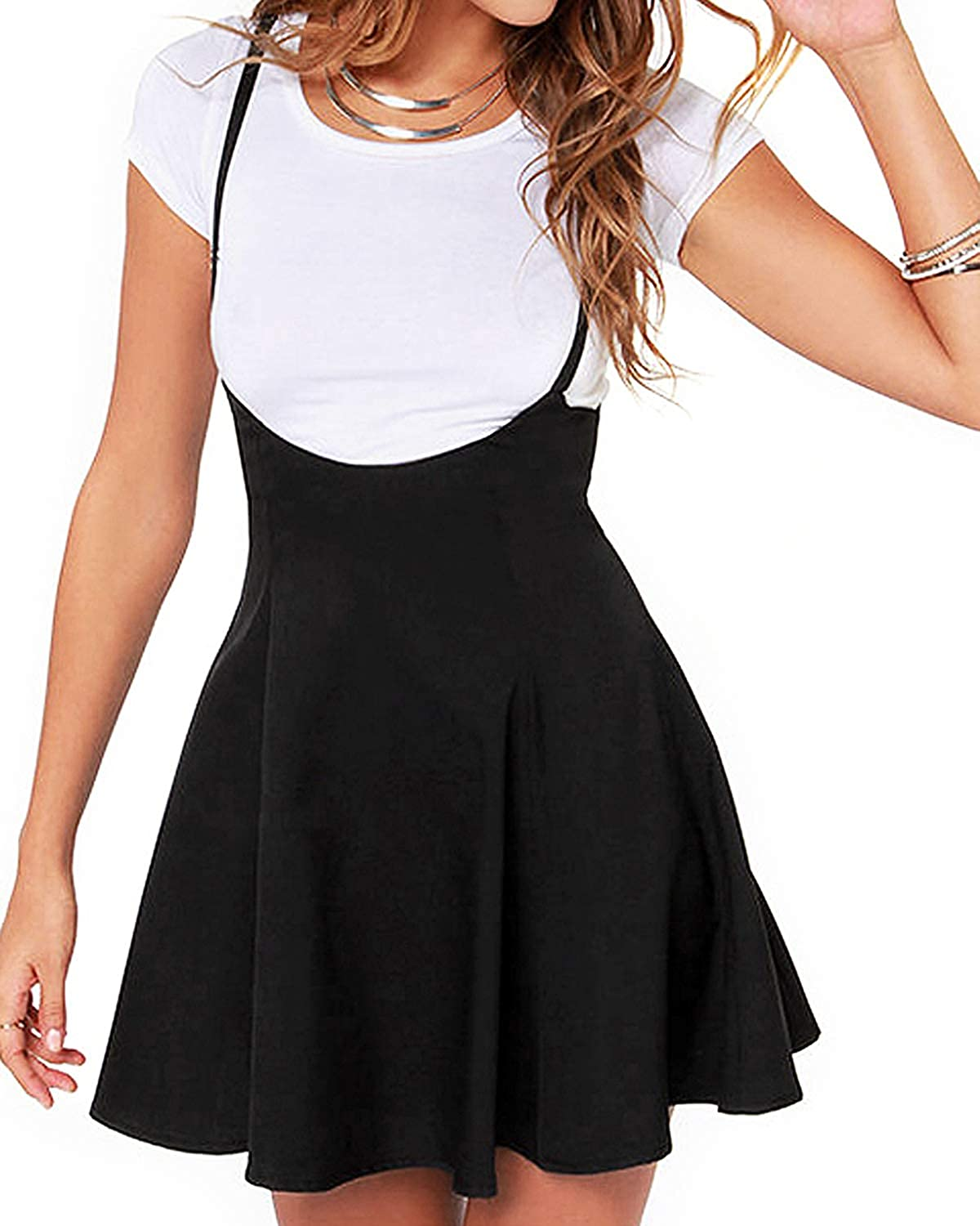 YOINS Women's Suspender Skirts Basic High Waist Versatile Flared Skater Skirt Overall Dress