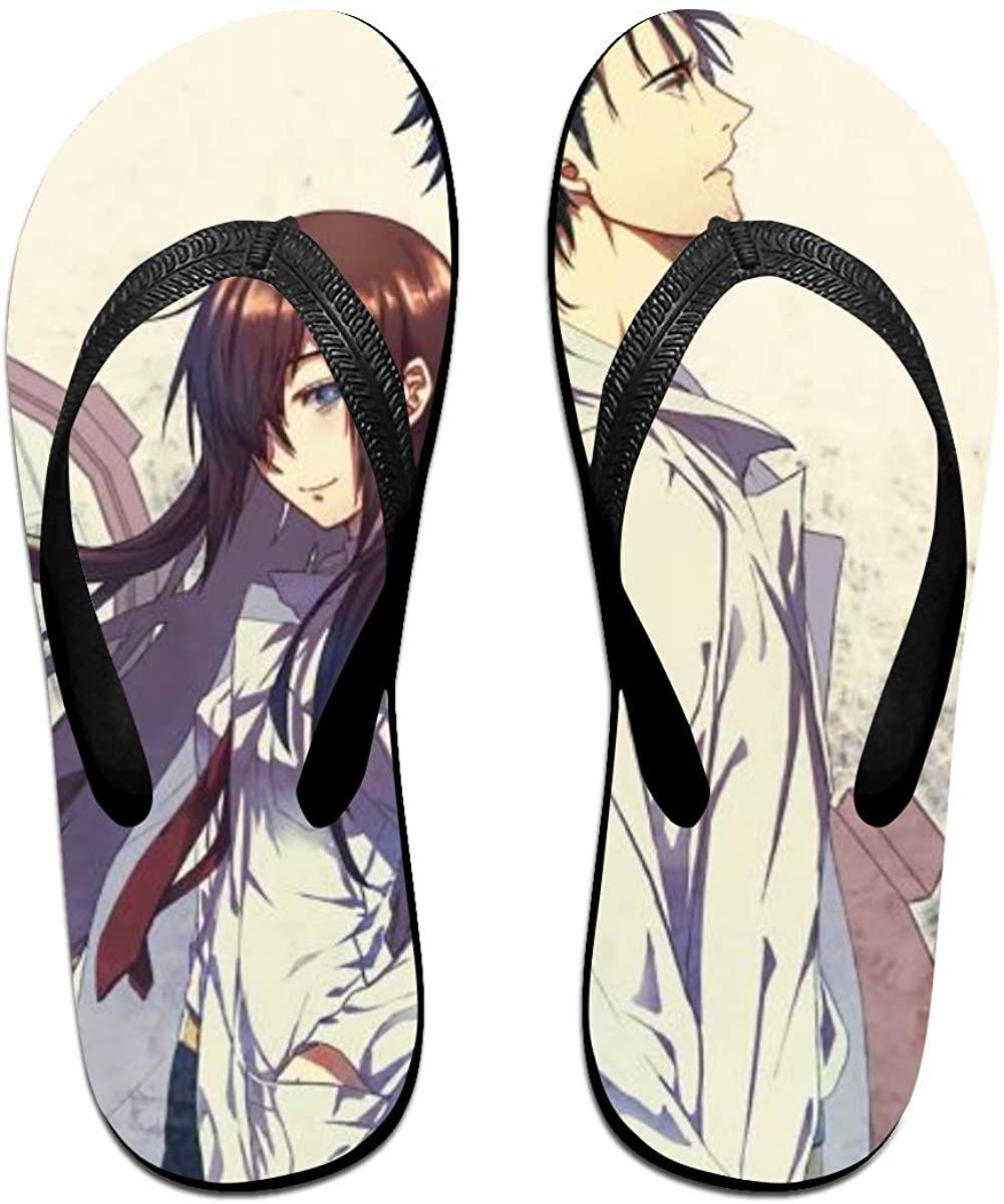 Steins Gate Anime Flip Flops Beach Sandals Thong Slippers for Indoor Outdoor Bathroom Shower
