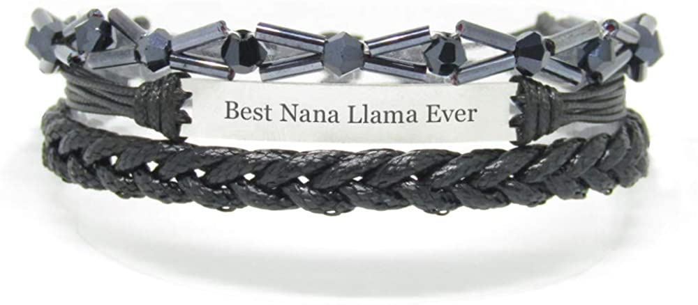 Miiras Family Engraved Handmade Bracelet - Best Nana Llama Ever - Black 7 - Made of Braided Rope and Stainless Steel - Gift for Nana Llama