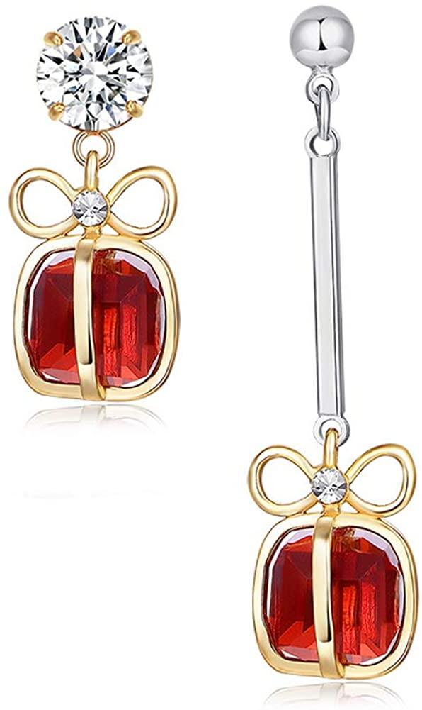 YAZILIND Asymmetric Gift-box Bowknot Cubic Zirconia Pendant Drop Dangle Stud Earrings Party Jewelry