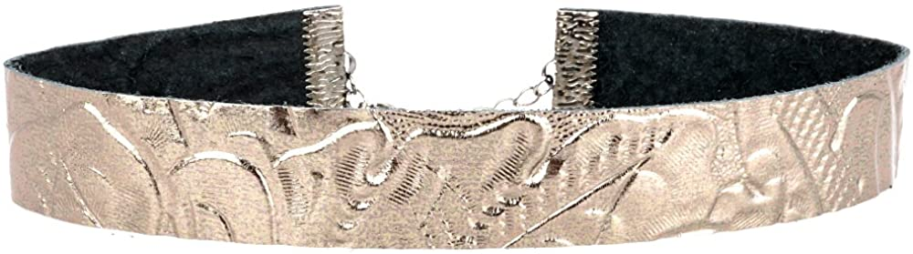 Twilight's Fancy Metallic Pale Bronze Floral Embossed Leather Choker (S, M, L, XL, XXL)