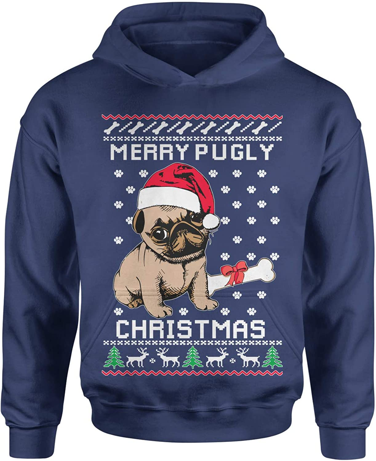 Expression Tees Merry Pugly Christmas Ugly Christmas Youth-Sized Hoodie