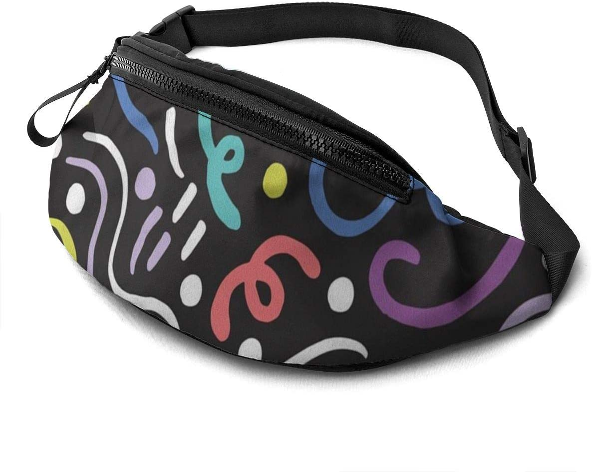 Colorful stripes pattern (7) Fanny Pack for Men Women Waist Pack Bag with Headphone Jack and Zipper Pockets Adjustable Straps