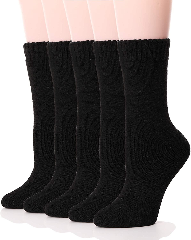 Womens Wool Socks Thermal Heavy Thick Soft Warm Fuzzy Work Winter Socks 5 Pack