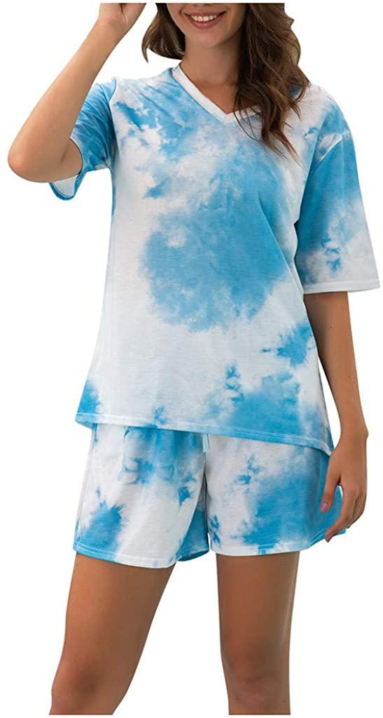 Women's Sports Sets Short Sleeve Tie-dye Printed T Shirt Shorts Pants Sweat Suit