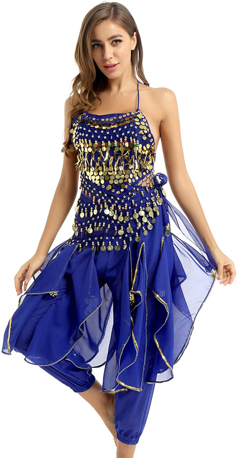 iiniim Women's Halloween Costume Tops Harem Pants Set Belly Dance Performance Outfit for Party