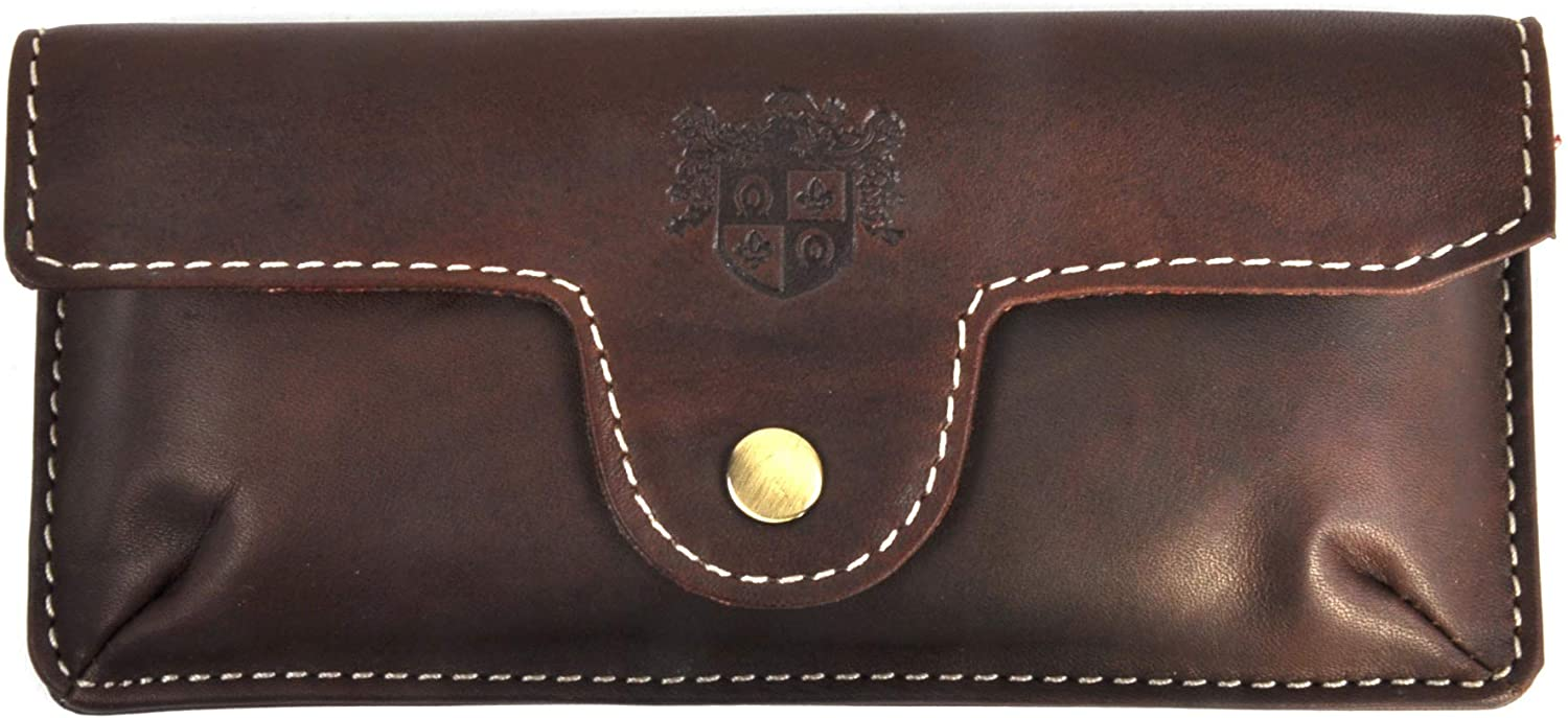 British Bag Co Brown Pull Up Leather Glasses Case