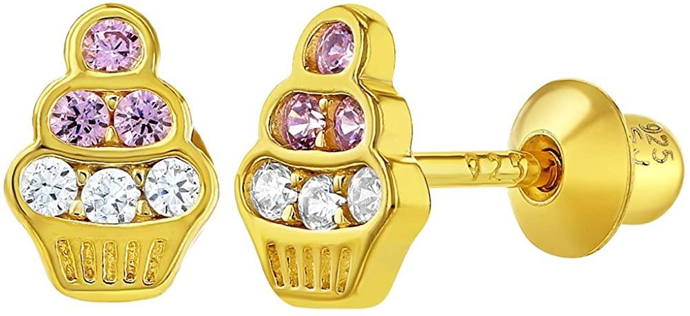 925 Sterling Silver Clear Pink Cubic Zirconia Cupcake Screw Back Girls Earrings