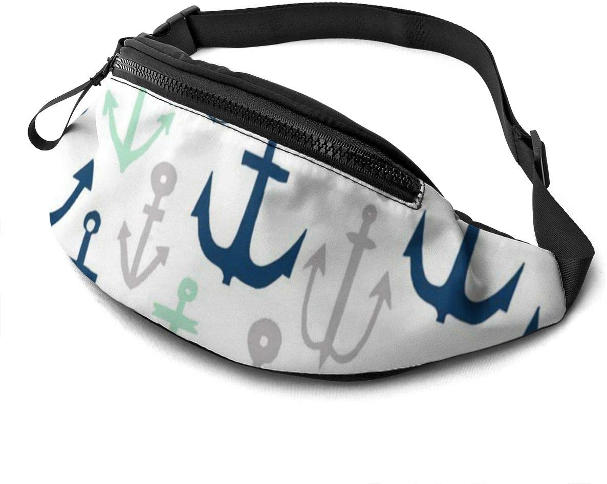 Anchor Fanny Pack for Men Women Waist Pack Bag with Headphone Jack and Zipper Pockets Adjustable Straps