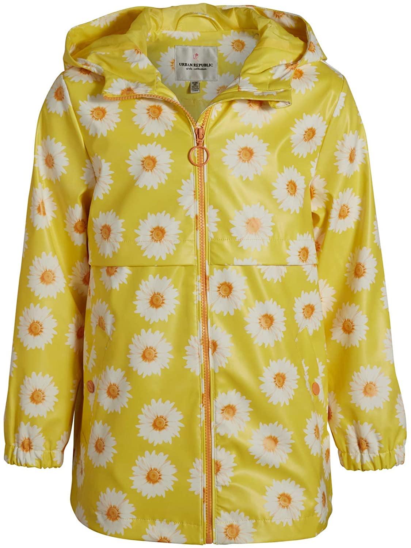 Urban Republic Girls Lightweight Raincoat - Vinyl Waterproof Raincoat Zip-Up Jacket, Yellow Floral, Size 6X'