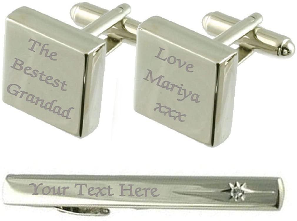 Select Gifts Bestest Grandad Engraved Cufflinks Tie Clip Box Set
