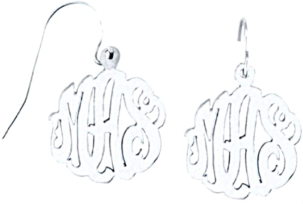 Rylos Monogram Earrings Personalized 15mm Sterling Silver or Yellow Gold Plated Silver. Special Order, Made to Order.