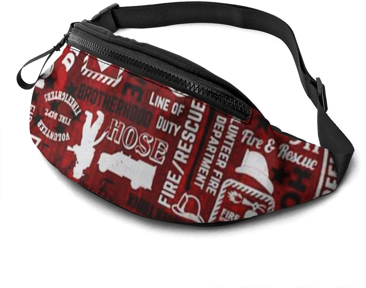 Firemen Art Collage Fanny Pack For Men Women Waist Pack Bag With Headphone Jack And Zipper Pockets Adjustable Straps