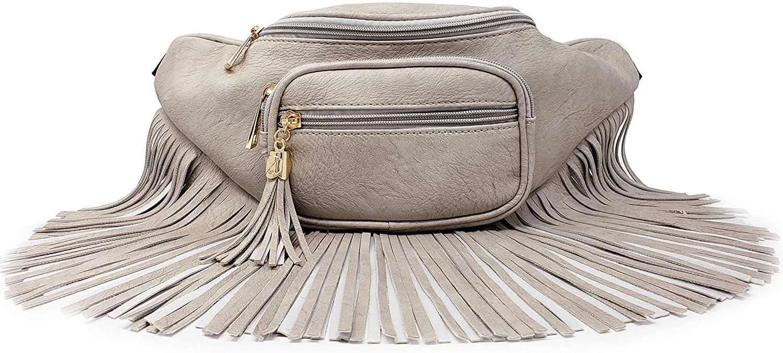 Womens Fringe Tassel Fanny Pack With Faux Leather Coachella Festival Multi Zipper Bag