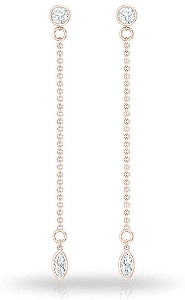 Simple Marquise IGI Certified Diamond Long Chain Earring, IJ-SI Round Diamond Shoulder Duster Earrings, Women Dangle Line Earrings, Stylish Girl Gifts, Screw Back
