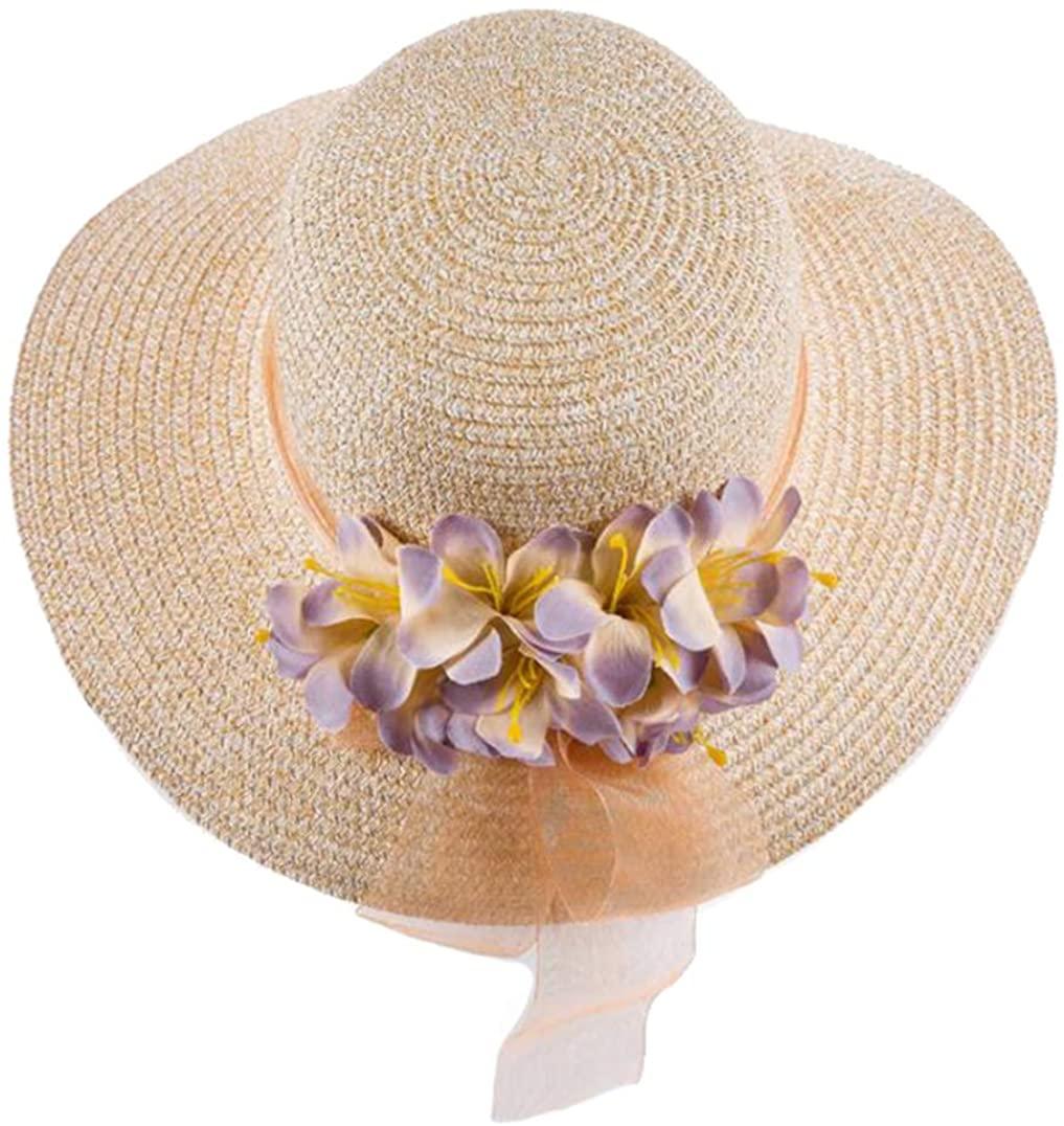 Women Sun Hats Navy Blue Straw Beach Hat with A Wide Brim Flower Uv Protection Bucket Caps