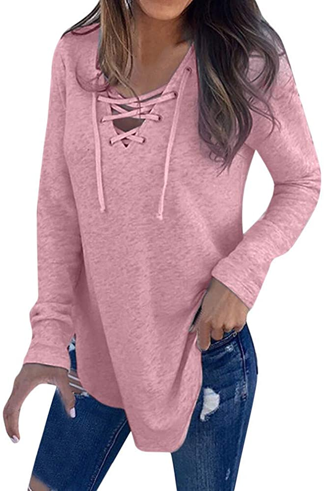 Orangeskycn Women Pullover Blouse V Neck Strap Long Sleeve T-Shirt (Nice