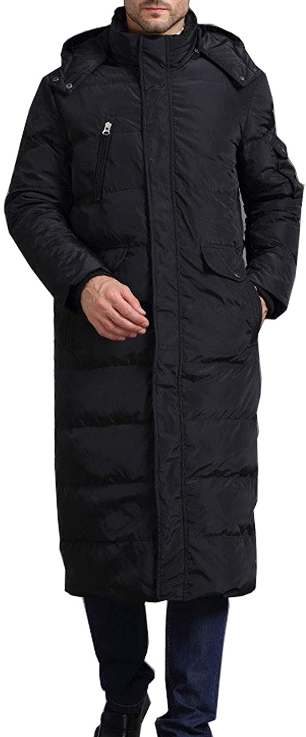 Flygo Mens Winter Warm Hooded Long Down Coat Quilted Puffer Jacket Overcoat
