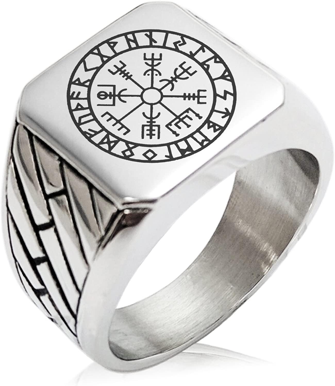 Tioneer Stainless Steel Icelandic Vegvisir Viking Rune Geometric Pattern Biker Style Polished Ring