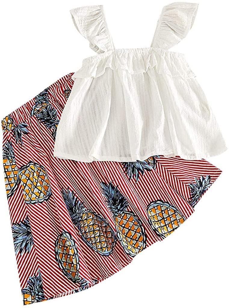 Swyss Toddler Girls Summer Skirt Sets Sleeveless Ruffle Top+Pineapple Skirt Kids Clothes Outfits