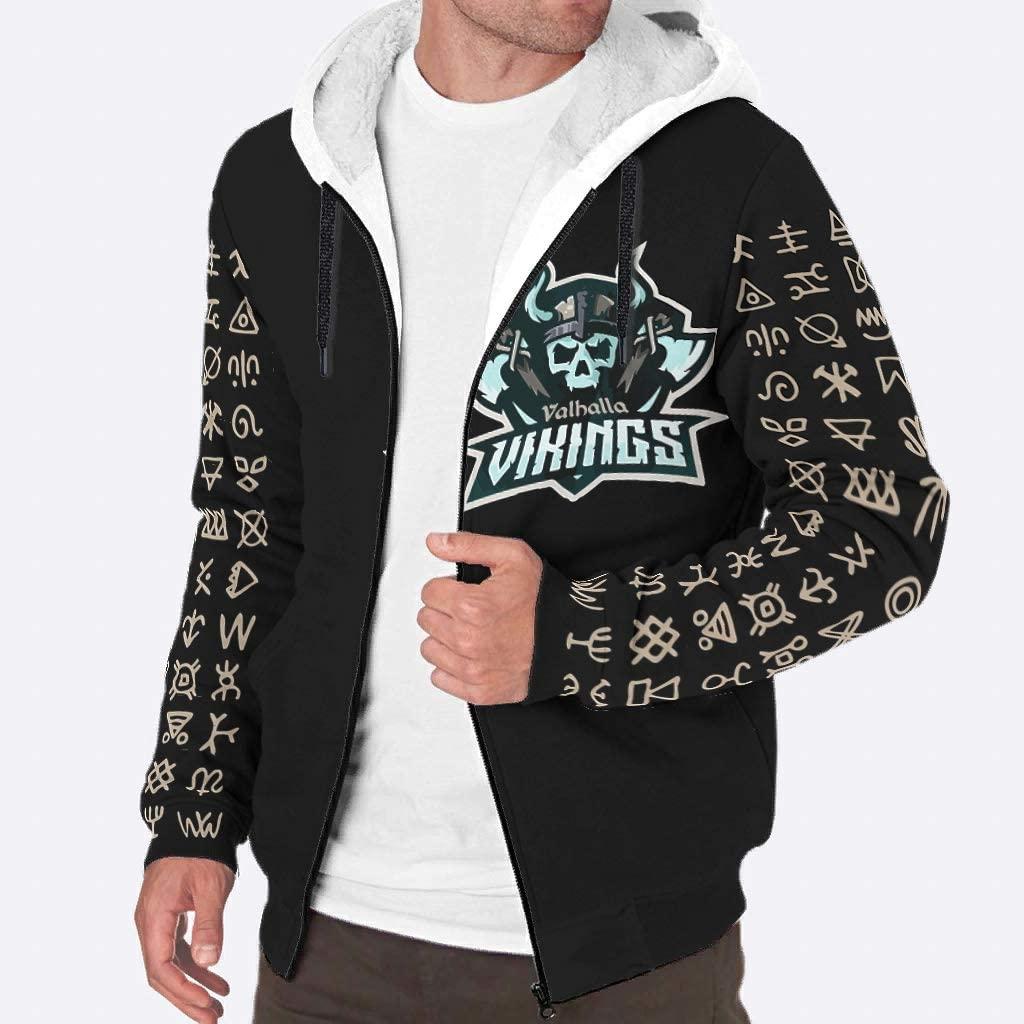 UAright Men's Long Sleeve Full Zip Viking Fashion Fleece Sherpa Sweatshirt Jacket Winter Workout Jacket Outwear Coats S-3XL White s