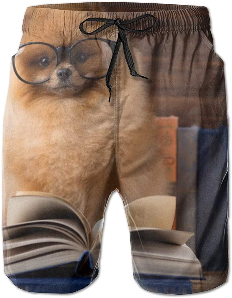 Clever Pomeranian Dog Read Book Men's Beach Shorts Summer Swim Trunks Sports Shorts