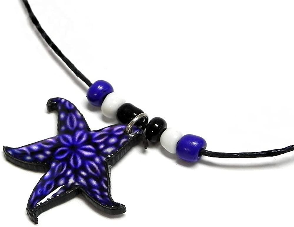 Mia Jewel Shop Starfish Tropical Sea Animal Pendant Beaded Necklace